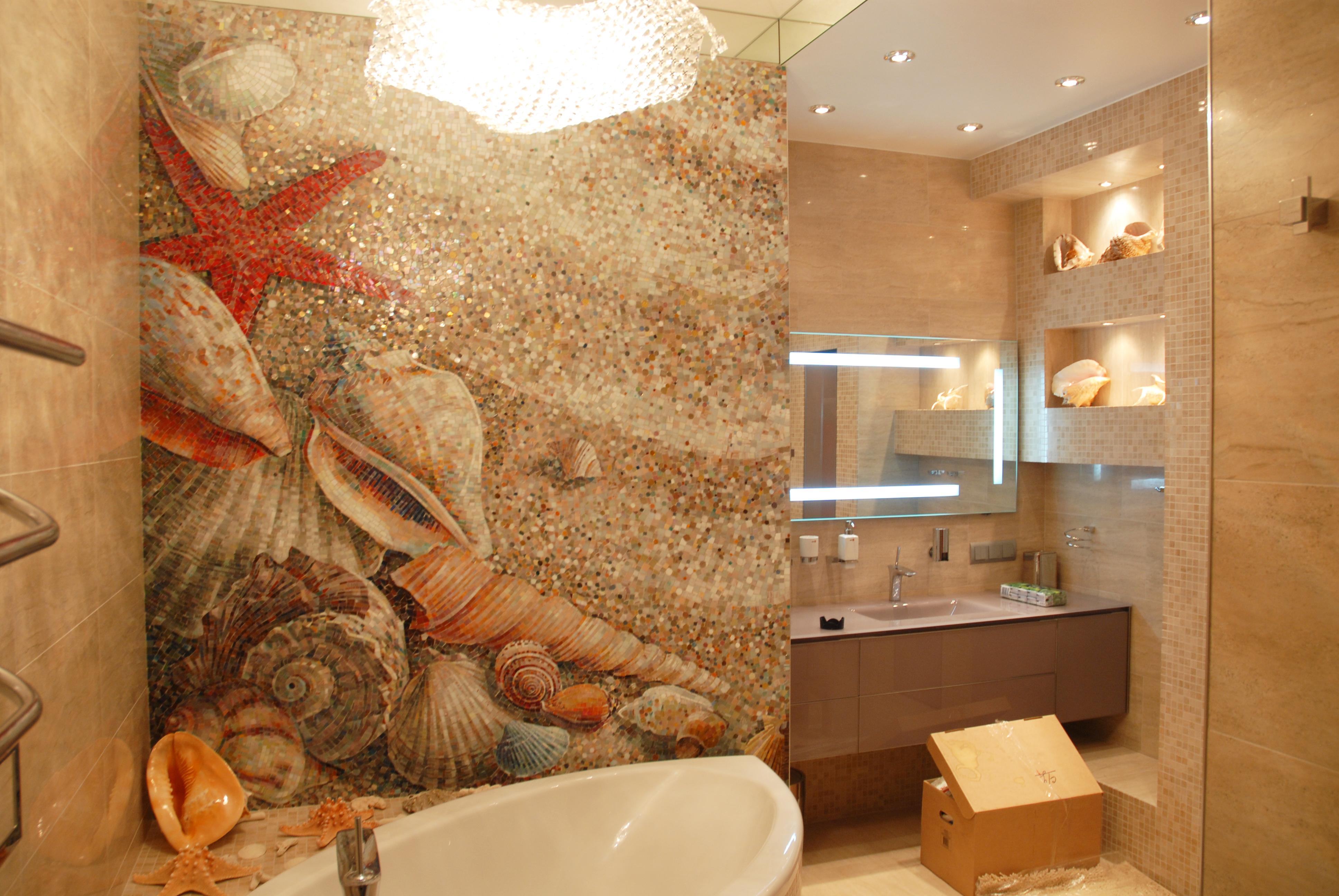ванная с ракушками
